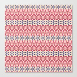 Vintage red blue ivory abstract Christmas pattern Canvas Print