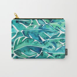 Split Leaf Philodendron – Teal Carry-All Pouch