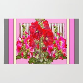 MODERN ART RED & PINK  HOLLYHOCKS BOTANICAL  PATTERNS Rug