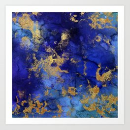 Gold And Blue Indigo Malachite Marble Art Print