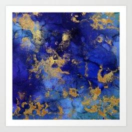 Gold And Blue Indigo Malachite Marble Kunstdrucke