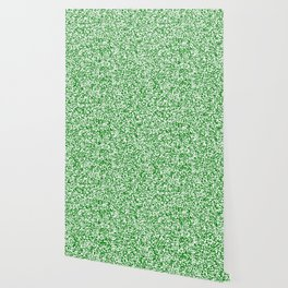 Tiny Spots - White and Green Wallpaper