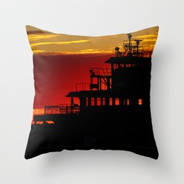 Staten Island Ferry Silhouette Throw Pillow