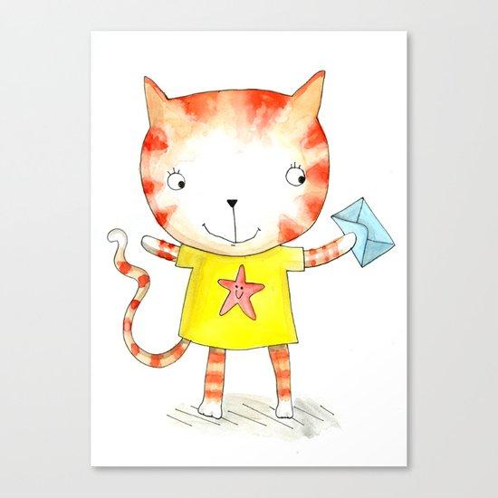 Ginger kitten watercolour Canvas Print