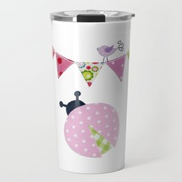 Ladybug with party flags Travel Mug
