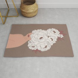 Woman with Peonies Rug
