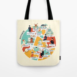 Montmartre Illustrated Map Tote Bag