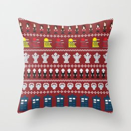 Doctor Who - Time of The Doctor - 8 bit Christmas Special Throw Pillow