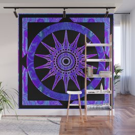 Starlit Purple Nights Abstract Mandala Artwork Wall Mural