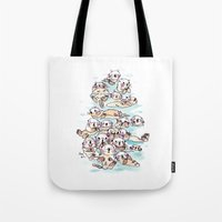 otters Tote Bags featuring Wild family series - Otters by Choc Ye