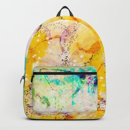 Watercolor Flower Painting, Modern Abstract  Bloom in Orange & Lime Green Backpack