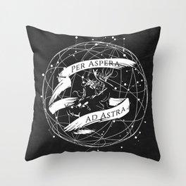 Per Aspera Ad Astra (White) Throw Pillow