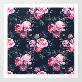Navy and Bright Pink Floral Print Art Print