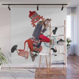 Red Flamingo Trends by Lenka Laskoradova Wall Mural