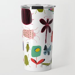 Insect watercolor white Travel Mug