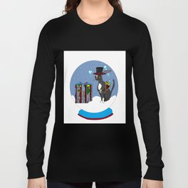 A Snow Globe with a Steampunk Kitty Long Sleeve T-shirt