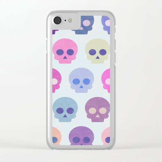 Colorful Skull Cute Pattern III Clear iPhone Case