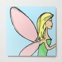 My Messy Fairy Sketch- blonde Metal Print