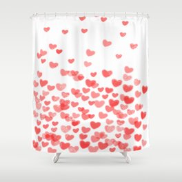 Hearts - Valentines Glitter Hearts in pink on white background for trendy girls valentines day Shower Curtain