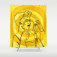 fitzgerald Shower Curtains featuring Ella Fitzgerald by Cristina Curto