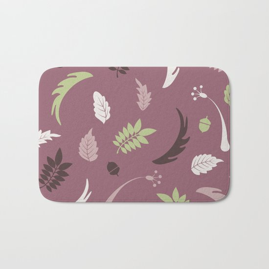 COLORED LEAVES P  (abstract pattern) Bath Mat