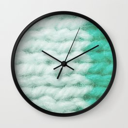 White Turquoise Wool Knitting Texture Wall Clock