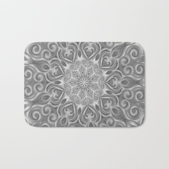 Gray Center Swirl Mandala Bath Mat