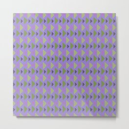 Geometrical purple green hand painted triangles pattern Metal Print