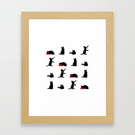 Cats Black on White Framed Art Print