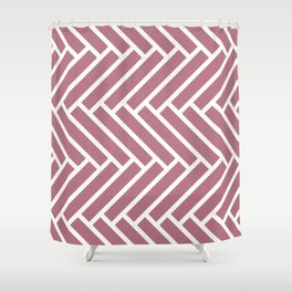 Dark pink and white herringbone pattern Shower Curtain