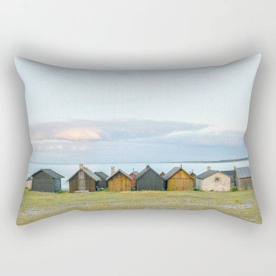 Fishing huts hutte 7 Rectangular Pillow