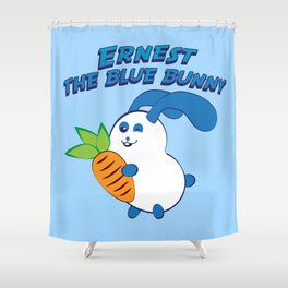 Ernest the blue bunny Shower Curtain