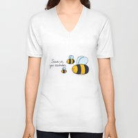 bees V-neck T-shirts featuring Bees!!! by AbelleArt