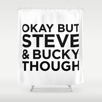 bucky Shower Curtains featuring Steve and Bucky Though by HipsterFangirl