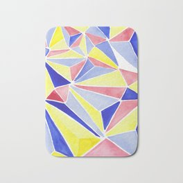 Watercolor colorful beach triangles. Watercolor geometry 3D effect. Bath Mat
