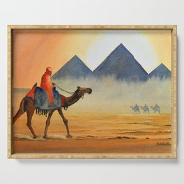 Sudden Sand Storm At Giza Pyramids Egypt Serving Tray