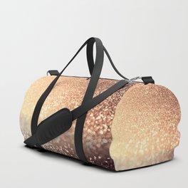 Cozy Copper Espresso Brown Ombre Autumnal Mermaid Glitter Duffle Bag
