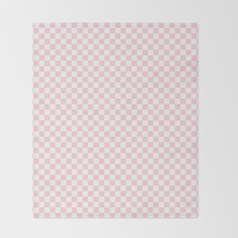 Light Soft Pastel Pink and White Checkerboard Throw Blanket