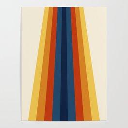 Bright 70's Retro Stripes Poster