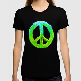 Turquoise Lime Watercolor Tie Dye Peace Sign T-shirt