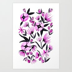 Black and Pink Flowers - Watercolor Art Print