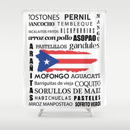 Puerto Rican foody & cousine boricua Shower Curtain