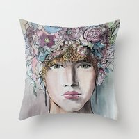 headdress Throw Pillows featuring Headdress  by Talitha Etters