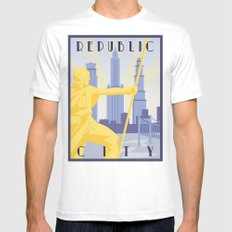 Republic City Travel Poster Mens Fitted Tee MEDIUM White