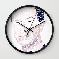 stephen king Wall Clocks featuring Stephen Colbert by Perry Misloski