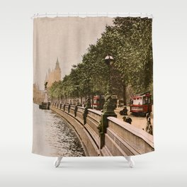 Vintage The Embankment, River Thames, London Shower Curtain
