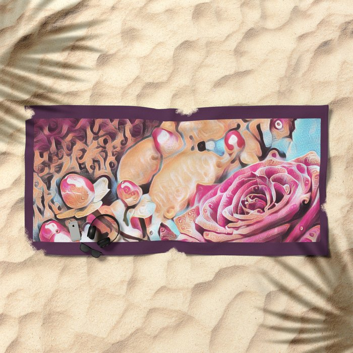 Textured illustration with rose and berries Beach Towel