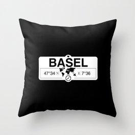 Basel Switzerland GPS Coordinates Map Artwork with Compass Throw Pillow
