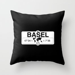 Basel Switzerland GPS Coordinates Map Artwork with Compass Throw Pillow