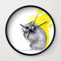 hamster Wall Clocks featuring hamster by Konstantina Louka